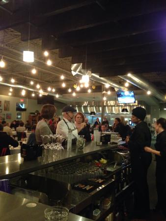 Southfield, MI: The featured chef chatting up the bar staff & guests