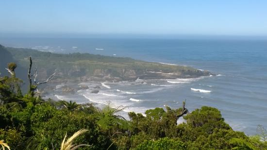 West Coast Region, New Zealand: Southern view. Punakaiki (Pancake Rocks) in the distance
