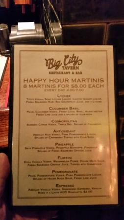 Big City Tavern: Happy hour martini menu