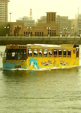 Bur Dubai Abra Dock : This is mad isn't it ... A water/land bus.  Love Bur Dubai. The real Dubai.