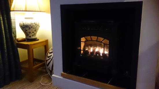 The Tempest Arms: cosy fire in room 13