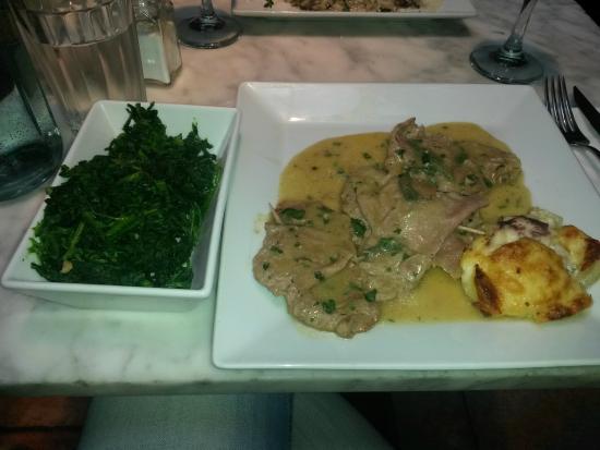 Olivelli - Mayfair : saltimbocca alla romana con spinaci e tortino di patate