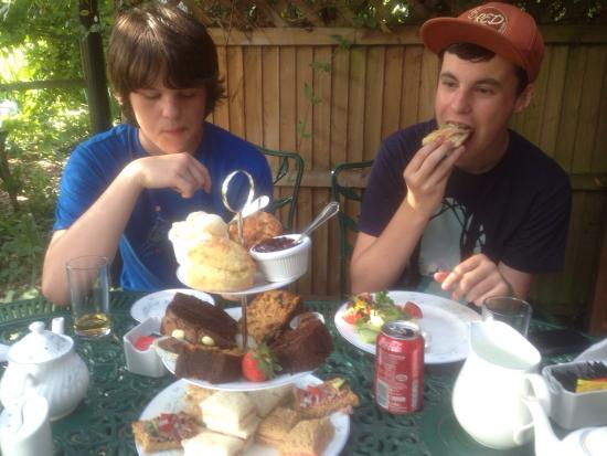 Bossington Tea Shop: High Tea for the kids With coke