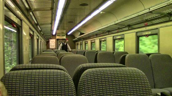 Saratoga and North Creek Railway: Inside one of the train cars on the North Creek railroad choo choo