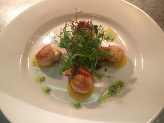 The Elm Tree: Scallops with Apple and saffron purée