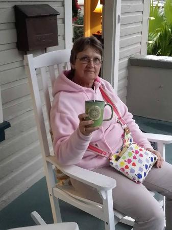 At Journey's End Bed & Breakfast: Hot tea on front porch