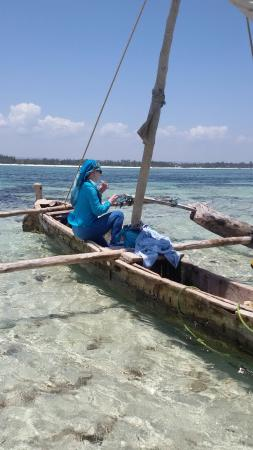 In a local dhow on the reef in front of Galu Getaway Resort.