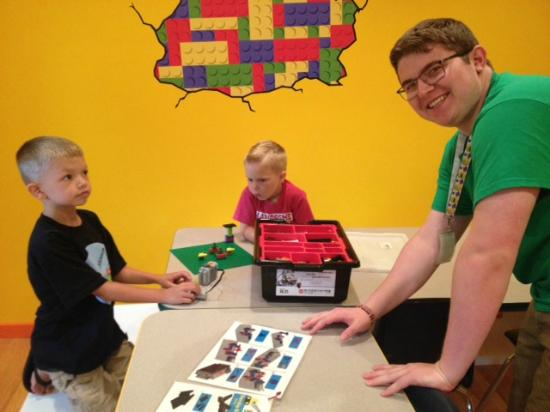 Clarkston, MI: Working on LEGOs at a party