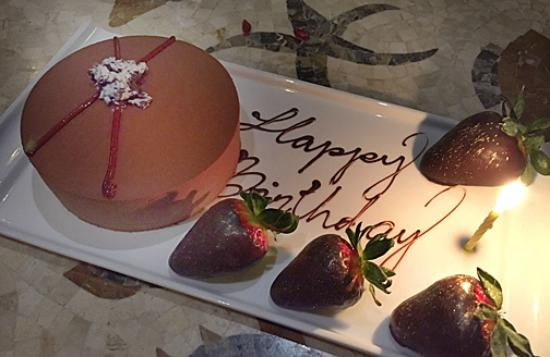 Motif Restaurant at St. Regis: Chef Frederic sent out a special cake for our birthday celebration that was simply delicious!