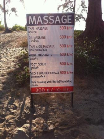 Holiday Inn Phuket Mai Khao Beach Resort: Beach massage pricing....good