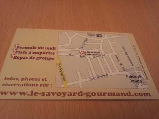 Le Savoyard Gourmand Carte De Visite Verso
