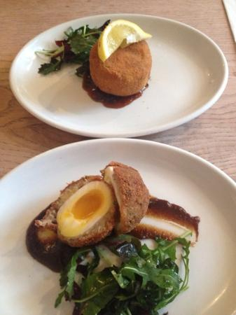 The Bell at Caerleon: Memorable Homemade Scotch egg and Brown sauce and Fishcake