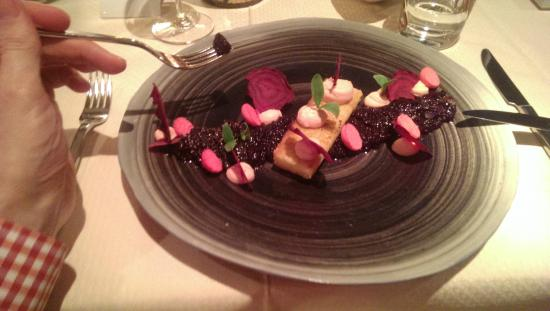 Nives: Starter with beetroot and duck liver and breast