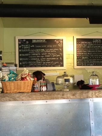 Happy Gillis Cafe & Hangout: Menu! I had the awesome breakfast burrito!