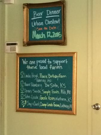 Happy Gillis Cafe & Hangout: Board of where the food is grown and raised! Go local!