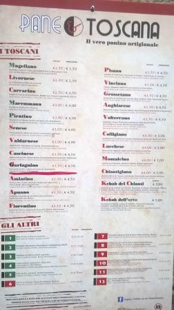 Pane e Toscana: menù