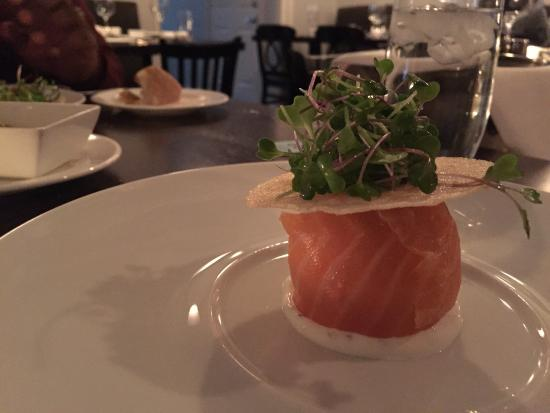 "Blackfish: Fried hen egg wrapped in house smoked salmon, my husband says ""your fish has a hat"".  Tasty!"