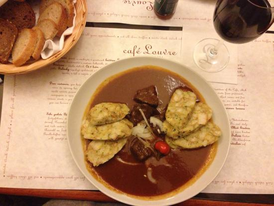 Cafe Louvre Beef Goulash Dumplings Apparently A Czech Speciality Which Was Delicious