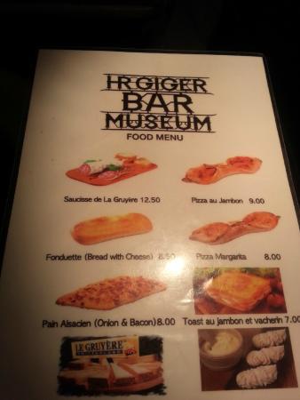 Menu picture of giger bar gruyeres tripadvisor for Bar food la menu