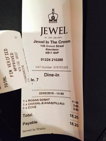 Jewel in the Crown: Name and price of the food I had