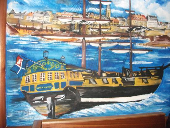 La Taverne de Saint-Malo : magnifique peinture murale.........