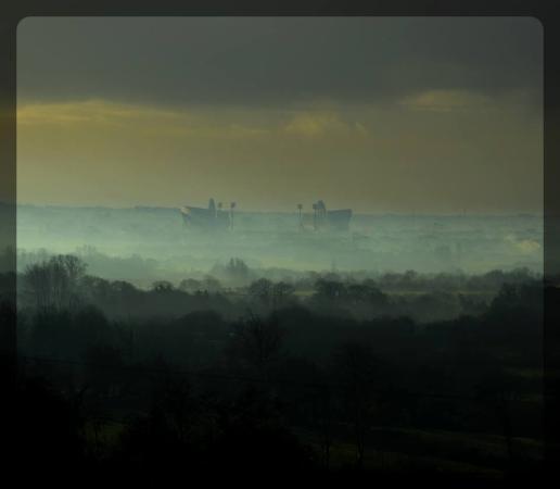 Thomond Park Stadium: Early morning mist ( taken from Meelick Co Clare )