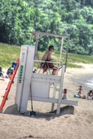 Michigan Beach Park Guard Watching Swimmers