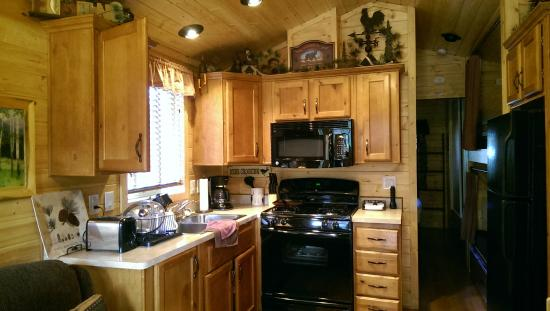 paradise on the river our cozy little kitchen inside elk crossing cabin - Little Kitchen
