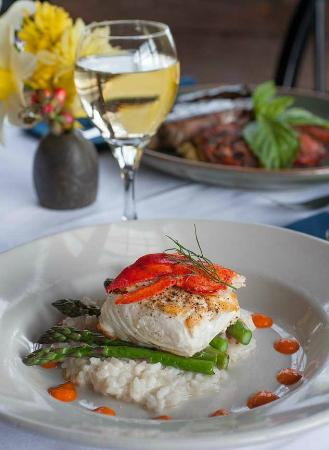 Pilgrim's Inn: Our signature Halibut dish with lobster risotto