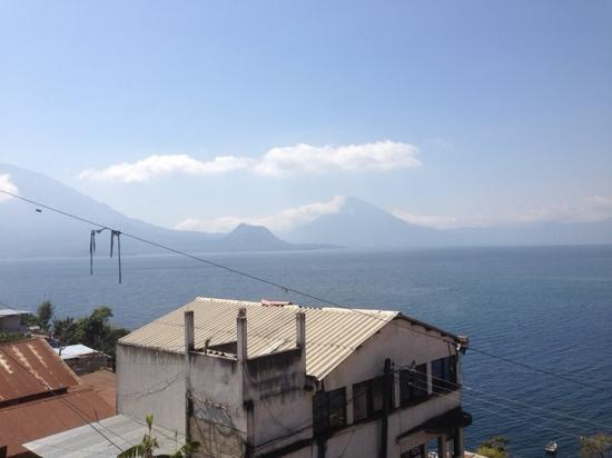 View of Lake Atitlan from San Antonio Palopo plaza