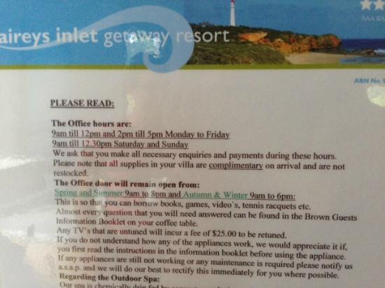 Aireys Inlet Getaway: Rules