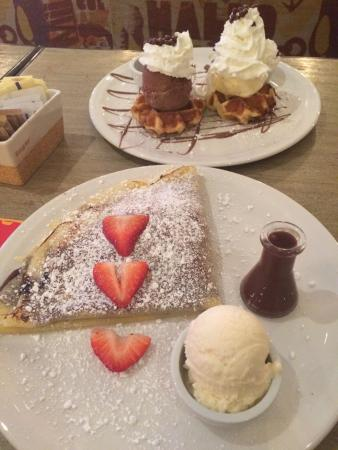 Max Brenner Chocolate Bar: Strawberry crepe and waffles.