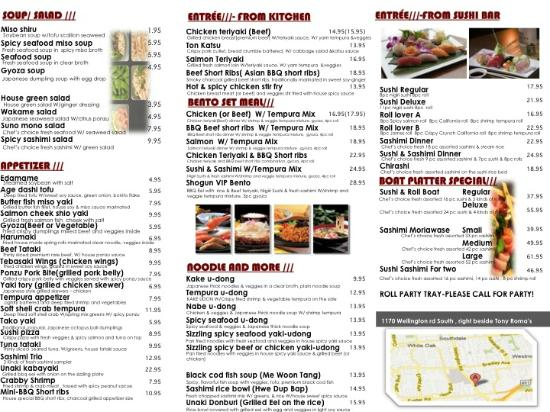 take out menu picture of izakaya shogun japanese sushi