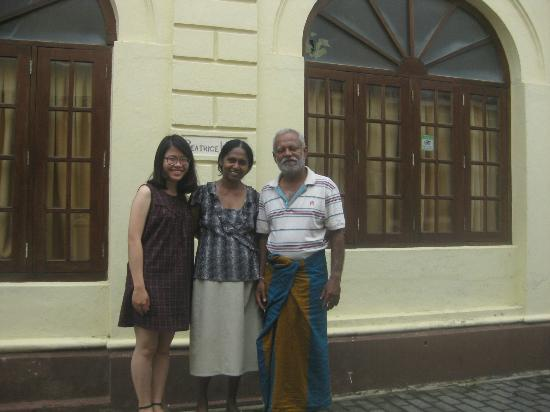 Mr.Kodi, his wife and I in front of Beatrice House