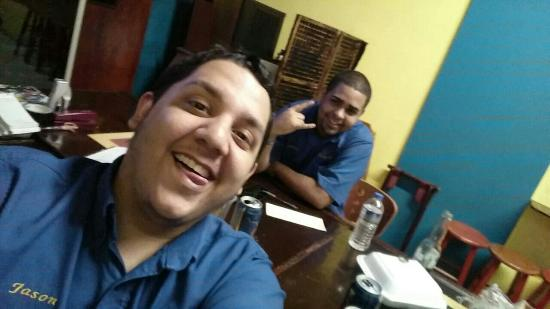 Pura Vida: Co owner Jason and waiter Carlos R.I.P