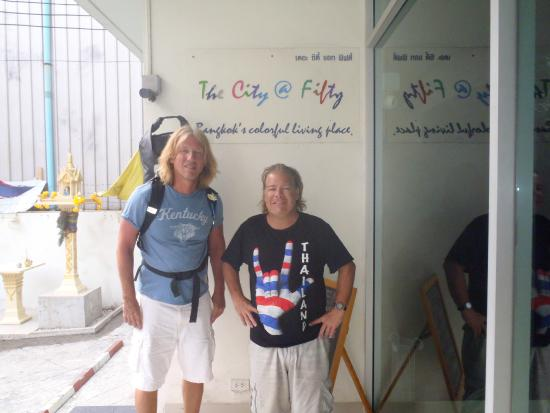 The City@Fifty Hostel: Front Entrance to the Hotel with my friend Mike and I.