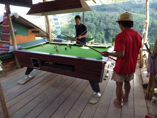 Next Step Thailand (Travel with Joe) Cycling and Hiking Private Day Tours : The pool table, playing with local visitors