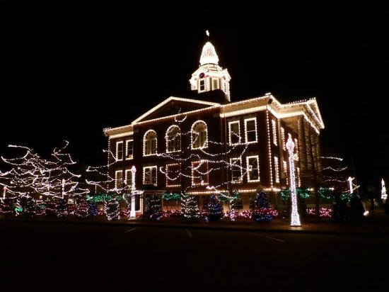 Logan County Courthouse: The lights are on at the courthouse.