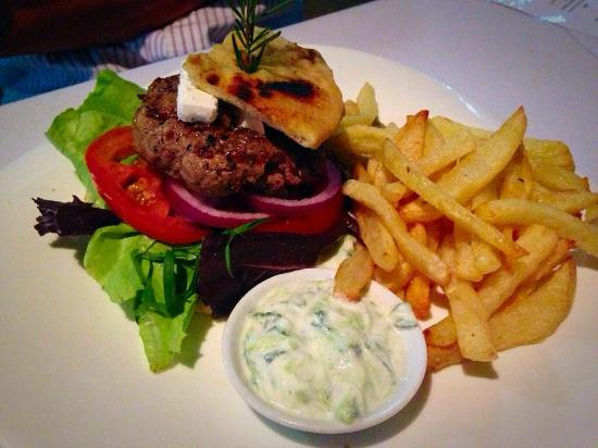 Ganache Cafe: Greek Style Lamb Burger