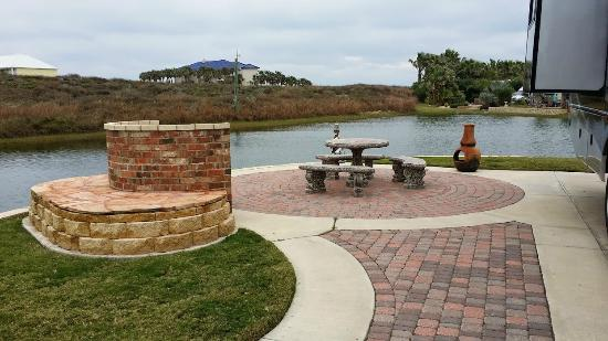 Gulf Waters Beach Front RV Resort: Our Site and Pond