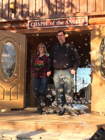 "Ridge Top Resort and Chapel: Our wedding day on 02-14-2015 at ""Chapel of the Angels"" Pastor Mike Mercer officiating and his l"