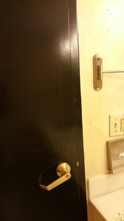 Wyndham Garden Dallas North: stains on bathroom doors,  unclean,  unsanitary