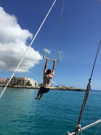 Simpson Körfezi, St-Martin / St Maarten: The trapeze swing!