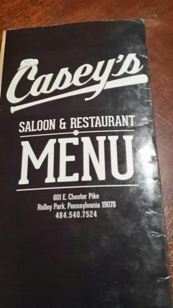 Ridley Park, Pensilvania: Casey's menu