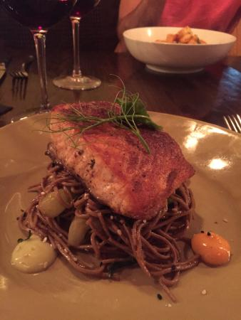 Brule Bistro: Tandoori style salmon over buckwheat soba noodles w yummy sauces