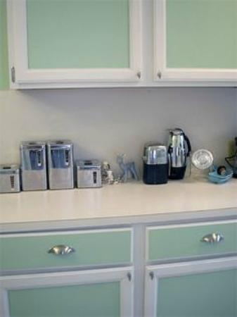 This is a picture of my kitchen after being inspired by a color used at the Aqua Hotel.