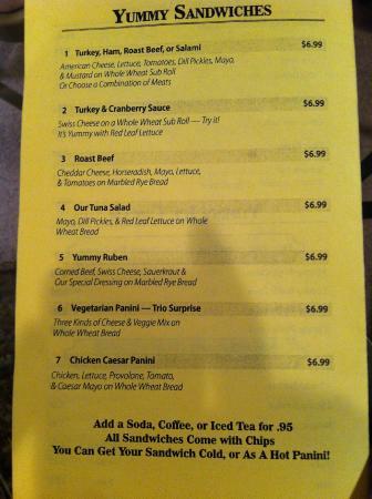 Yummy Donuts Cafe: Sandwich Menu