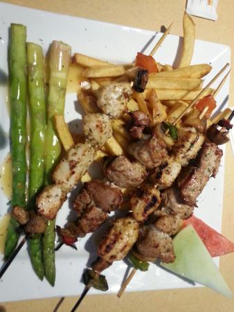 Grill Marx Pasta & Steaks: Pork and chicken kebab $12.99