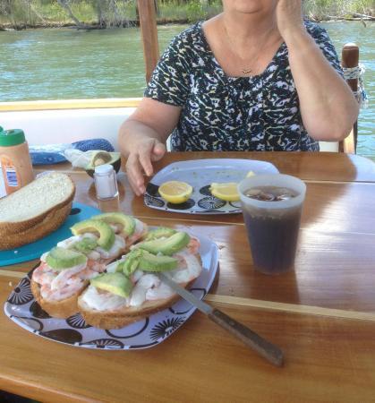 "Malu Os Eco Boat Hire Noosa: Mouthwatering lunch on ""Stillness"" Fresh Prawns & Avacado on Cobb loaf Bread. YUM!!"