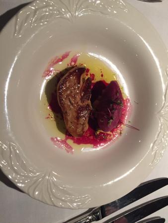 Relais du Bois Saint Georges: St Valentin 2015 le foie gras chaud se marie au sorbet glacé zeste de bergamote